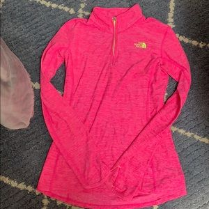 North face pink pullover quarter zip